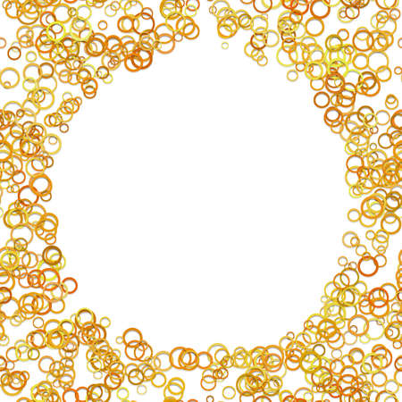 Geometric abstract chaotic circle background - vector graphic design from orange rings with blank space in the middle