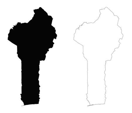 Benin outline map - detailed isolated vector country border contour maps of Benin on white background
