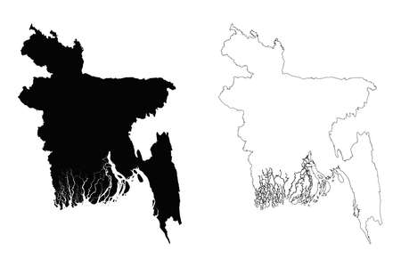 Bangladesh outline map - detailed isolated vector country border contour maps of Bangladesh on white background Illustration