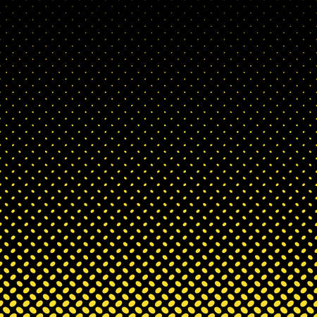 Abstract halftone ellipse pattern background - vector graphic design with yellowdiagonal elliptical dots in varying sizes on black background