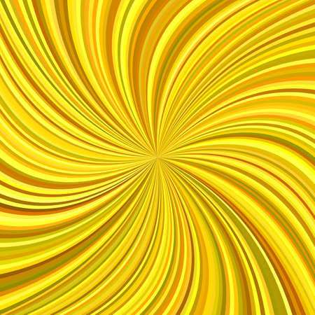 Golden abstract swirl background from curved spiral ray stripes - vector graphic