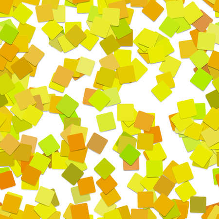 Seamless random square pattern background - vector illustration from rotated squares in yellow tones with shadow effect Ilustrace