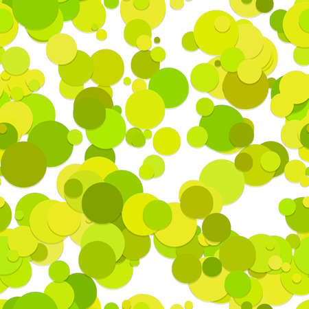 Abstract seamless chaotic circle background pattern - vector graphic design from dots in light green tones with shadow effect Ilustrace