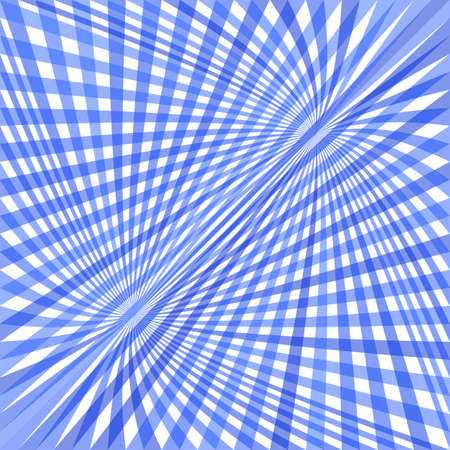 Abstract dynamic curved background - vector illustration from striped rays in blue tones. Illustration