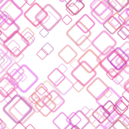Seamless geometric square pattern background - vector design from random diagonal squares with opacity effect in pink tones