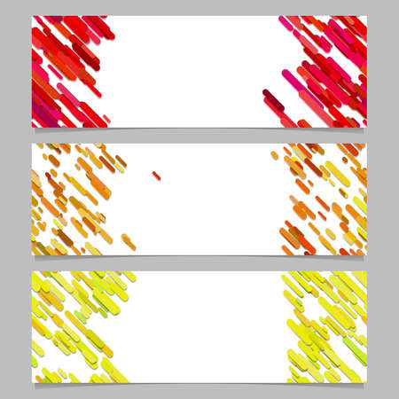Abstract banner background template design set with colored diagonal stripes - vector graphics Illustration
