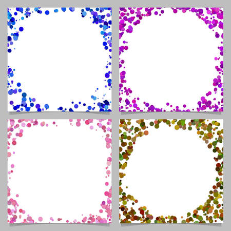 Colored abstract round border background design set with dots