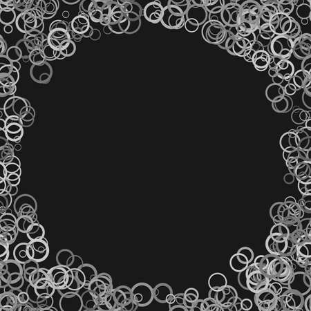 Abstract random circle background - trendy vector graphic design from grey rings on black background Illustration