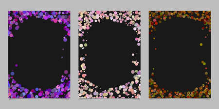 Random dot background round brochure border design set - vector graphics