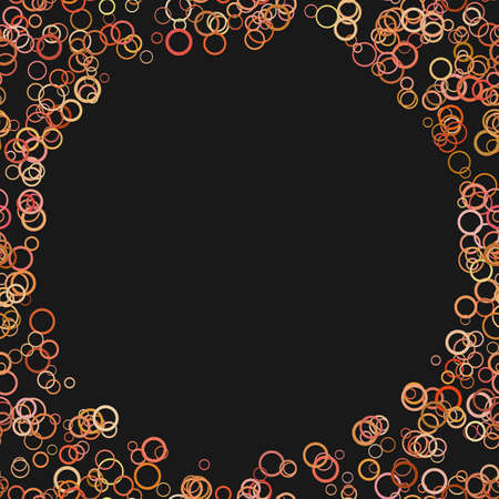 Abstract random circle background, trendy vector graphic design from colored rings on black background.