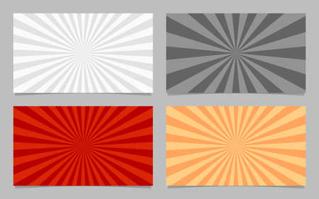 Abstract colored ray burst pattern card background template set Illustration