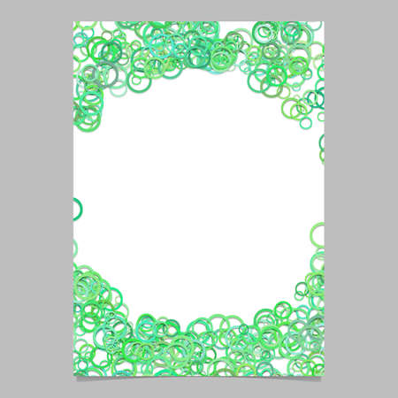 Color abstract random circle design flyer background template trendy vector blank brochure border graphic from green rings.