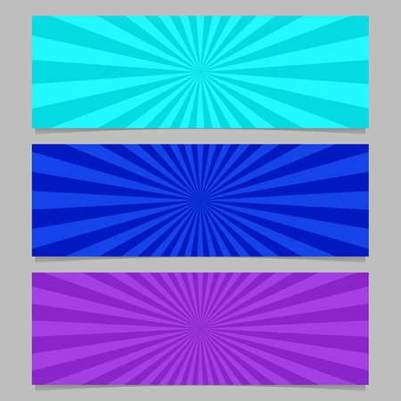 Abstract colorful ray burst banner template set