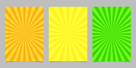 Abstract colored ray burst pattern brochure template set - vector page background designs Illustration