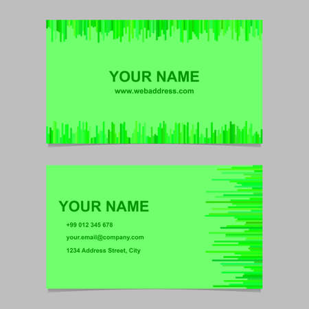 Green modern business card template design set - vector corporation graphic with horizontal and vertical stripes