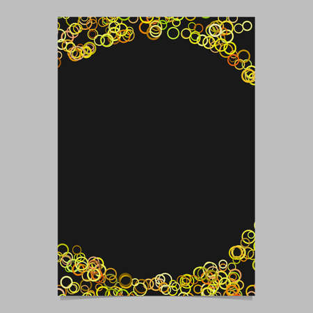 Trendy random circle pattern page background template - vector blank brochure frame graphic design with rings