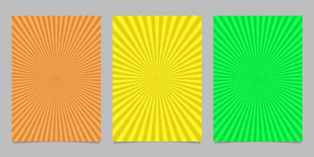 Abstract colored ray burst pattern brochure background set - vector design Illustration