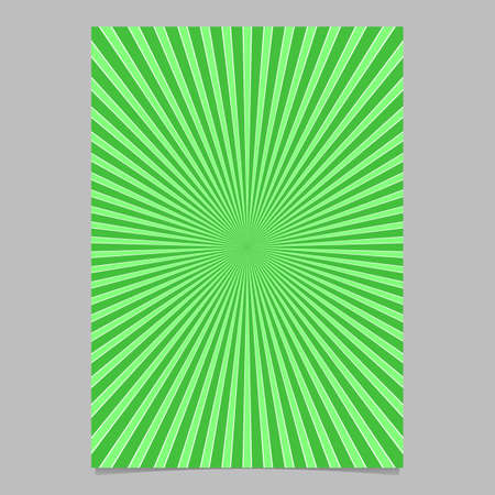 Green abstract explosion brochure template - vector page background design from radial rays Vettoriali