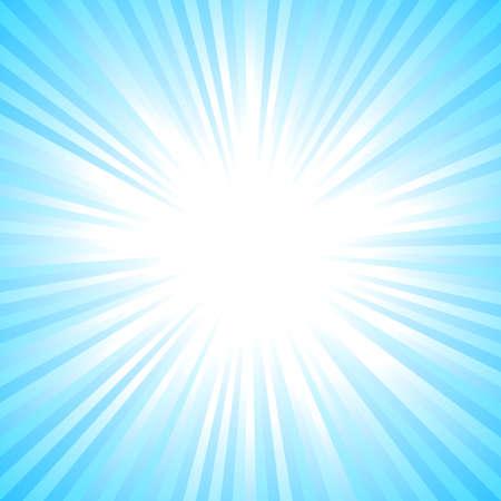 Sfondo di burst del sole astratto azzurro chiaro - grafica vettoriale di luce solare sfumata da strisce radiali