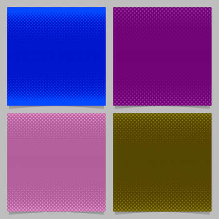 Geometrical halftone dot pattern background set - vector stationery graphics with colored circles in varying sizes