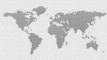 Halftone dot pattern world map background - vector design