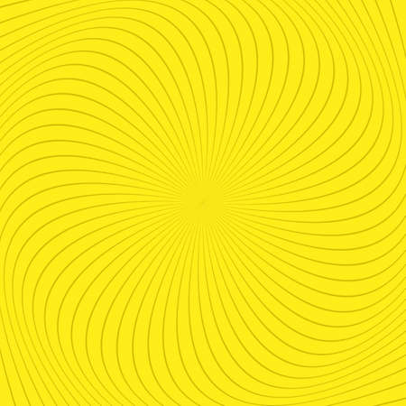 Yellow abstract spiral ray background - vector graphic design