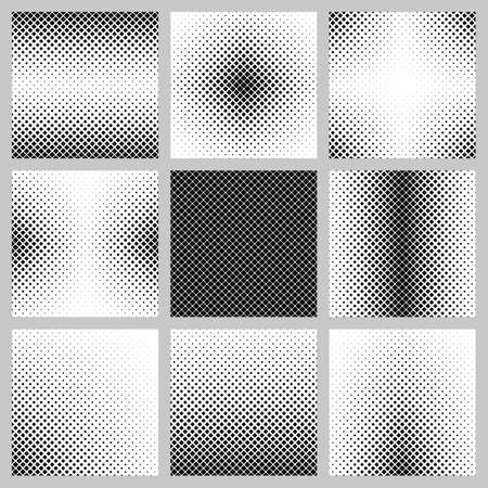Set of nine rounded square pattern background designs Ilustração
