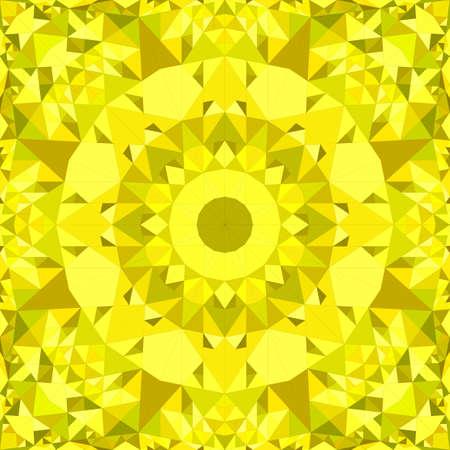Motif de papier peint kaléidoscope de tuile de mosaïque abstraite triangle jaune transparente - illustration de fond vecteur symétrique