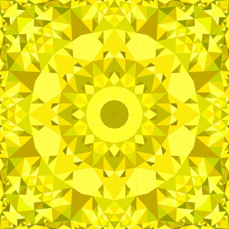 Yellow seamless abstract triangle mosaic tile kaleidoscope wallpaper pattern - symmetrical vector background illustration