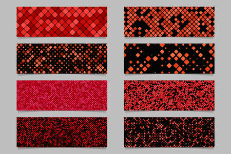 Red abstract modern diagonal rounded square pattern banner background set - vector graphic design Stockfoto