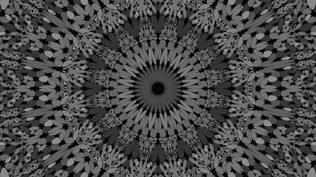 Grey gravel ornate mandala pattern wallpaper - tribal abstract vector background illustration