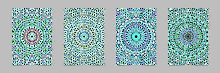 Gravel mosaic mandala pattern poster background set - vector stationery template designs