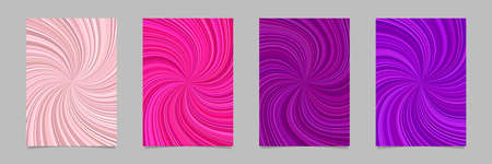 Swirl flyer background template set - vector stationery graphics with curved striped rays Vectores