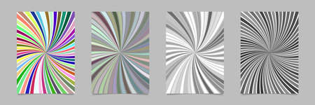 Spiral brochure background template set - vector stationery graphics with curved rays