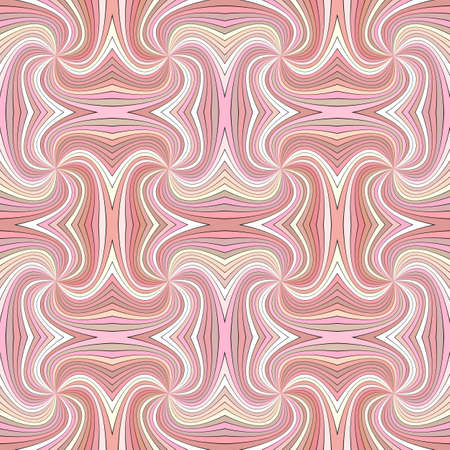 Pink seamless psychedelic geometrcial swirl stripe pattern background - vector curved burst graphic design