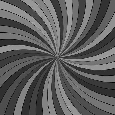 Grey abstract psychedelic vortex background - vector illustration with curved rays