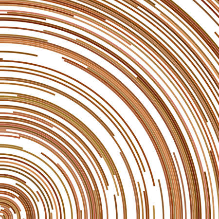 Brown circular abstract background - vector graphic from concentric curved lines Illustration
