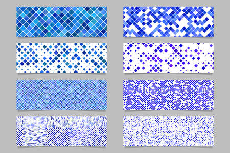 Abstract modern diagonal rounded square pattern banner background set - vector graphic design