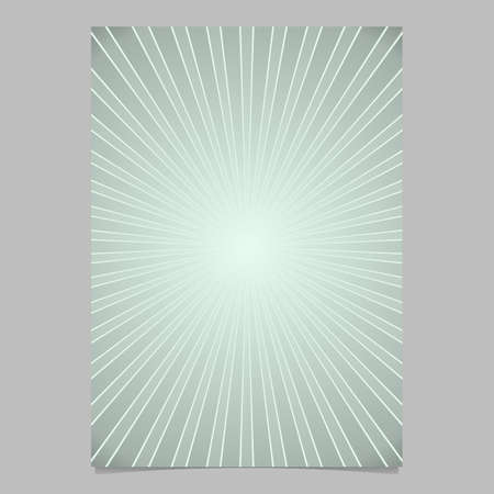 Geometric gradient abstract sun rays brochure cover template - vector page background illustration with radial stripes