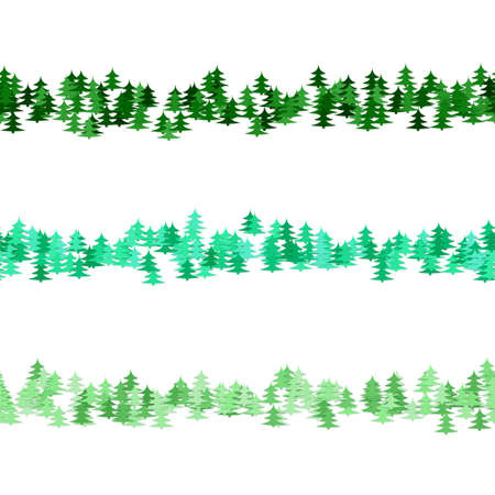 Seamless random green pine tree pattern paragraph divider line set - winter vector design elements