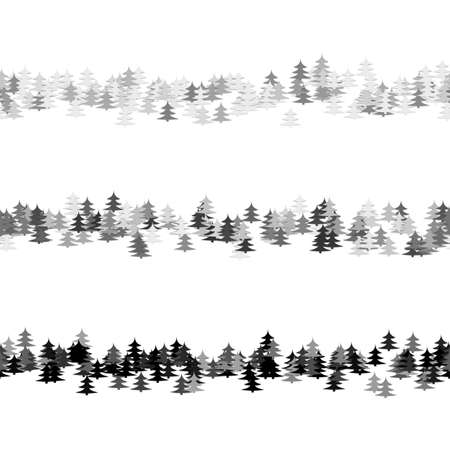 Grey seamless random pine tree pattern paragraph divider line set - vector graphic elements