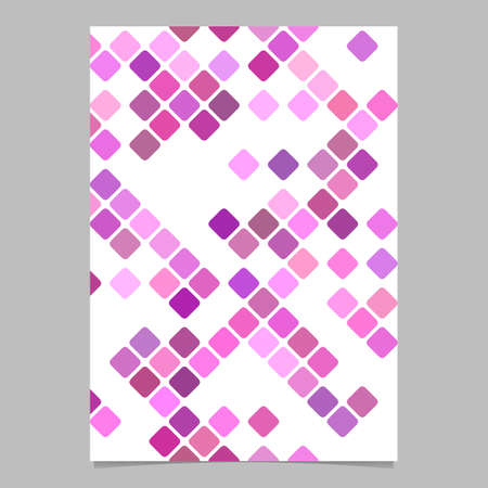 Pink abstract square pattern brochure template - vector tiled mosaic cover background