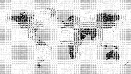 Halftone world map background - vector dot pattern design Vetores