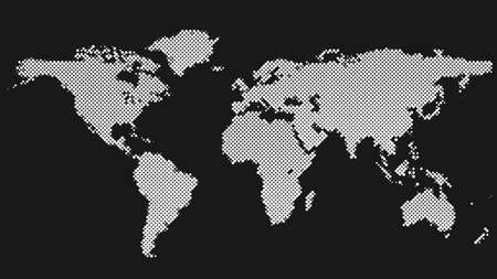 Halftone dot pattern world map background - vector graphic design Çizim