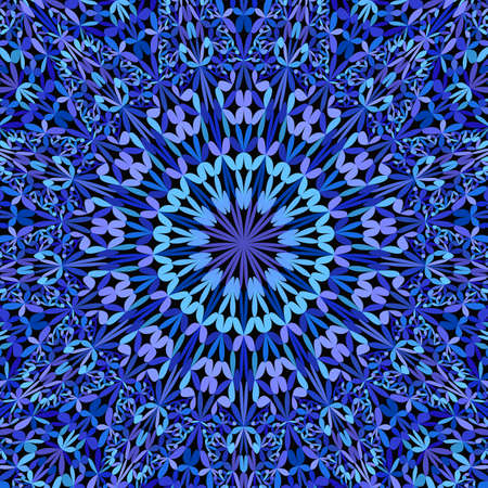Blue abstract floral ornate mandala background - bohemian vector graphic