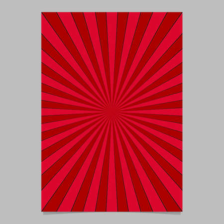 Retro red sun burst brochure, card template - vector stationery background graphic from radial stripe pattern