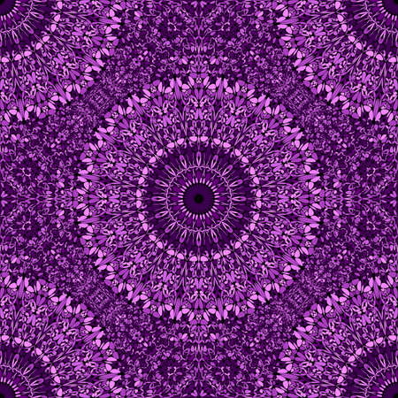 Geometrical mandala flower ornament pattern design - dark violet elegant spiritual bohemian seamless abstract vector background