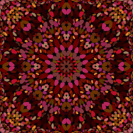 Red seamless floral kaleidoscope mandala pattern wallpaper design - symmetrical abstract vector background illustration