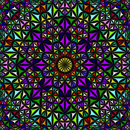 Colorful seamless kaleidoscope pattern background - abstract geometric vector mandala wallpaper illustration from curved triangles Vetores