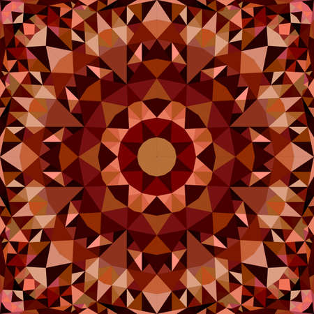 Brown abstract seamless triangle mosaic tile kaleidoscope pattern wallpaper - symmetrical vector background graphic design